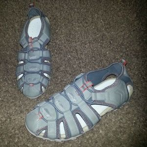 GEOX Sport Sandals-Gray Leather and Nylon